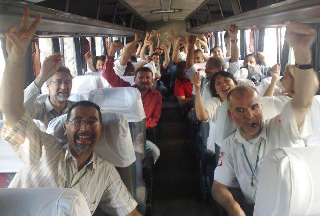 No ônibus, voltando para São Paulo