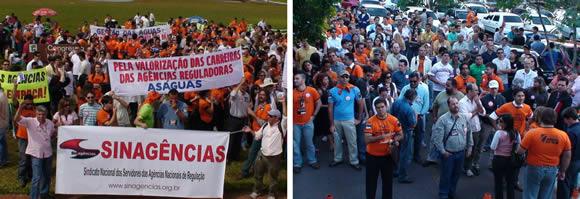 Servidores presentes no Congresso Nacional e no fim da mobilização, no Bloco K